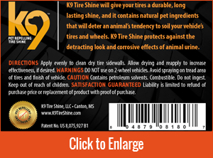 K9 Tire Shine Back Cover